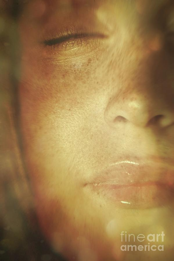 Close-up Of  Womans Face In Dreamlike State Photograph