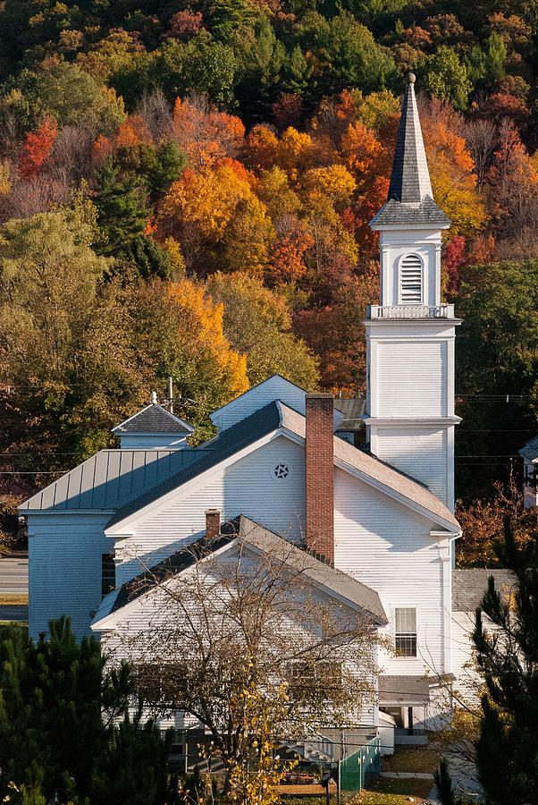 Closeup White Church In The Fall West Brattleboro Vermont Photograph