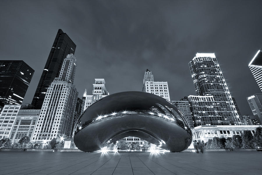 Cloud Gate And Skyline - Blue Toned Photograph
