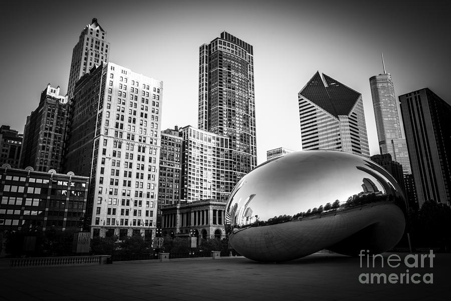 Cloud Gate Bean Chicago Skyline In Black And White Photograph