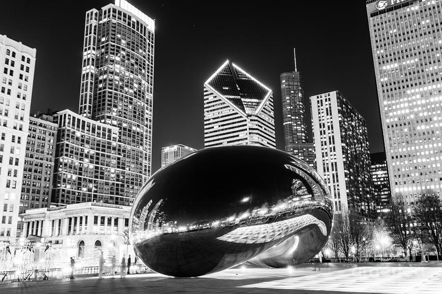 Cloud Gate Chicago Bean Black And White Picture Photograph