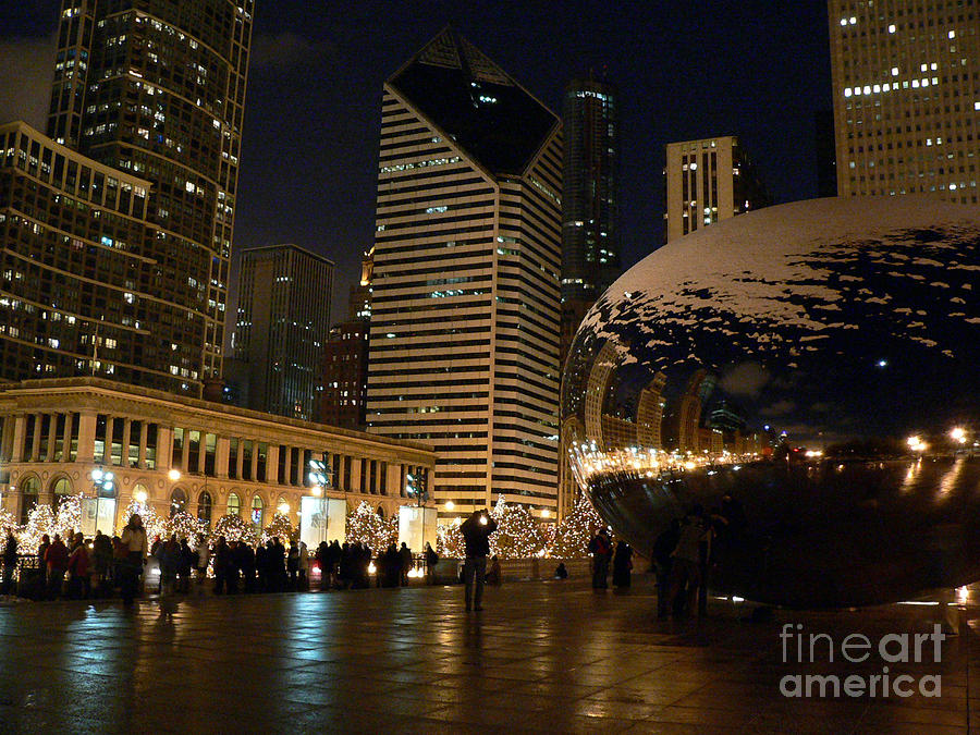Cloudgate In Snow Photograph  - Cloudgate In Snow Fine Art Print