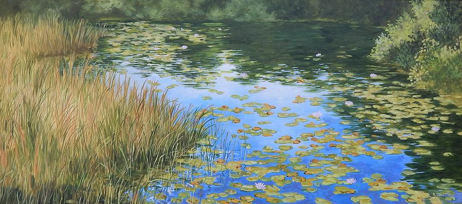 Still Water Reflections Painting - Clouds In The Pond by Anna Lowther