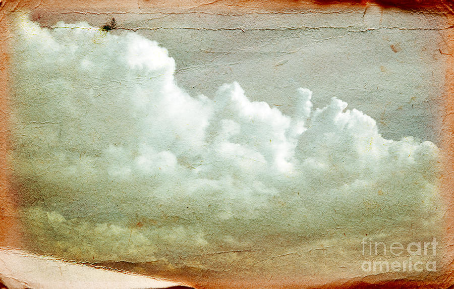 Clouds On Old Grunge Paper Photograph
