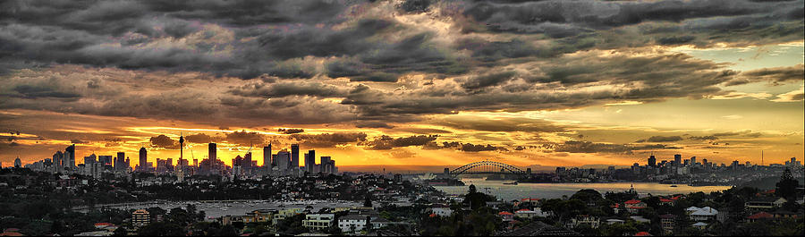 Sunset Photograph - Clouds Rose Over The City by Andrei SKY