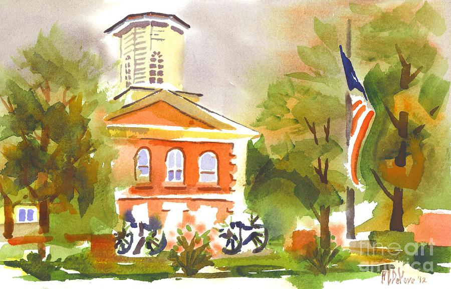Cloudy Day At The Courthouse Painting  - Cloudy Day At The Courthouse Fine Art Print
