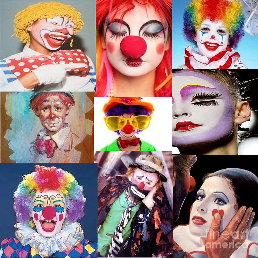 Clown Collage Digital Art  - Clown Collage Fine Art Print