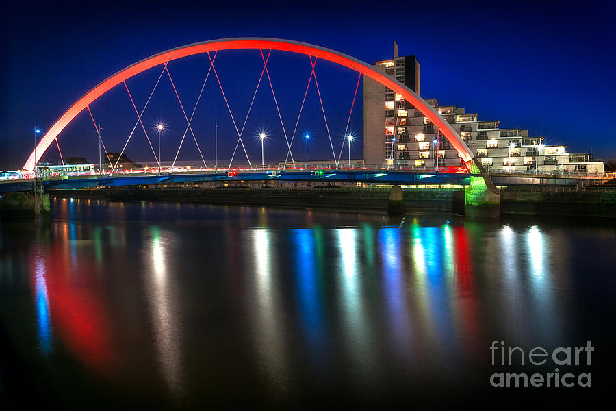 Clyde Arc Glasgow At Night Photograph