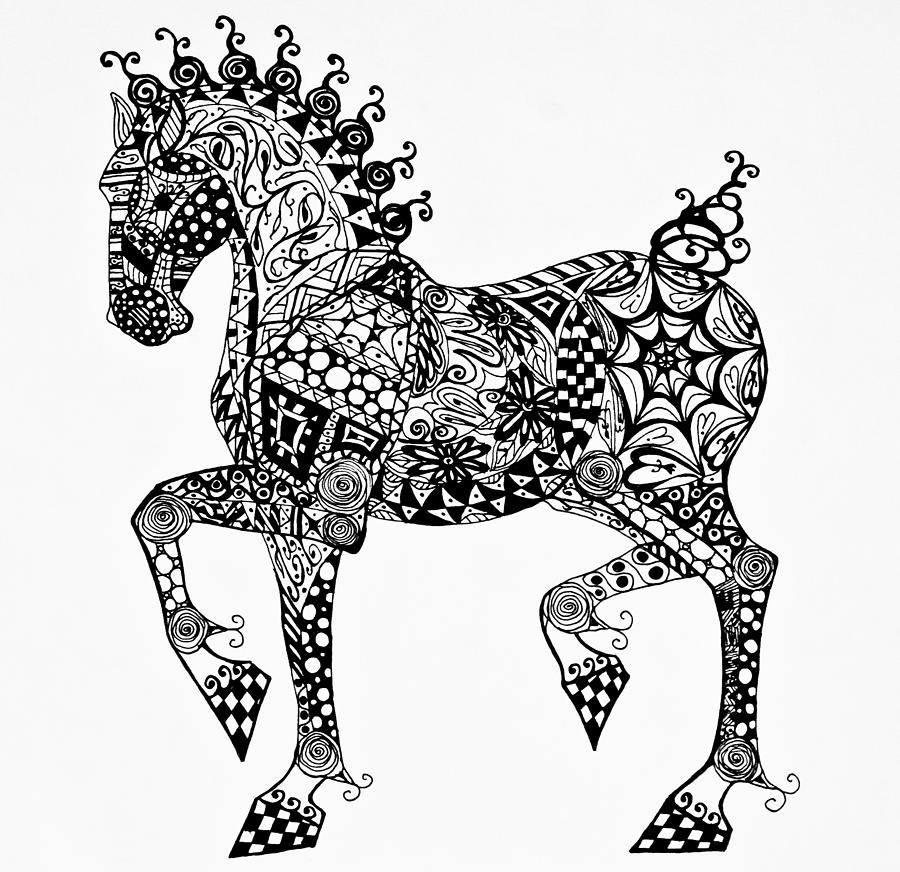 Clydesdale Drawing - Clydesdale Foal - Zentangle by Jani Freimann