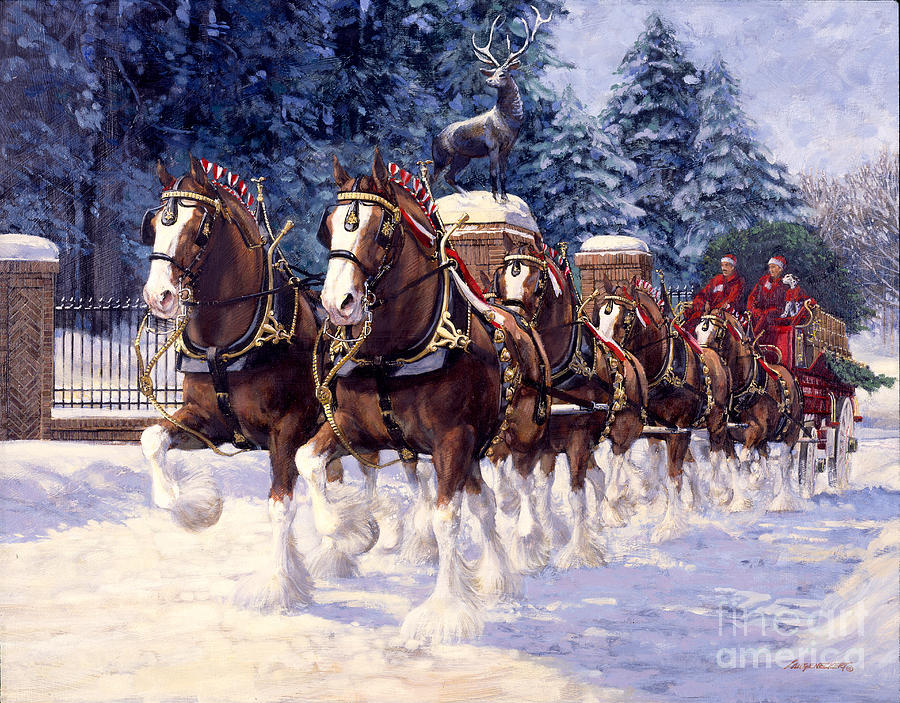 clydesdale hitch grants farm winter painting by don