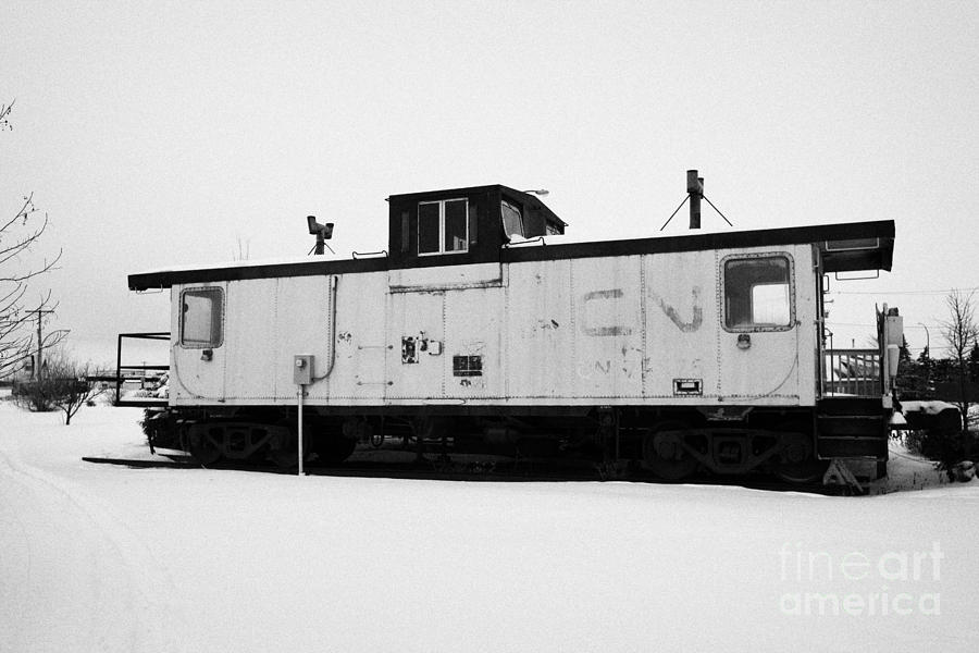 Cn Caboose At Cn Trackside Gardens Used As A Community Project Kamsack Saskatchewan Canada Photograph  - Cn Caboose At Cn Trackside Gardens Used As A Community Project Kamsack Saskatchewan Canada Fine Art Print