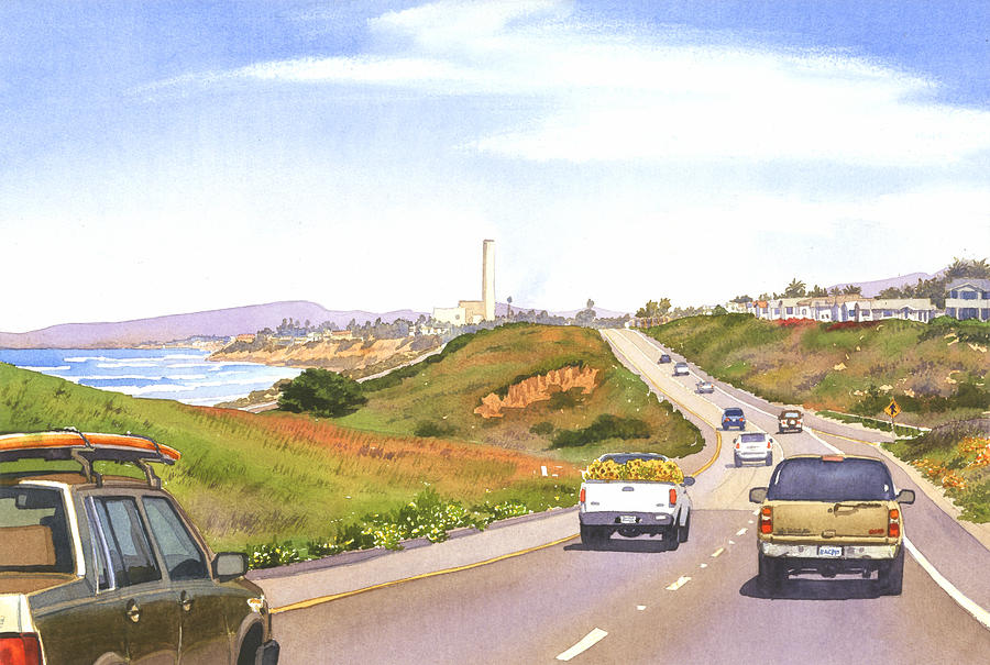 Coast Hwy 101 Carlsbad California Painting  - Coast Hwy 101 Carlsbad California Fine Art Print