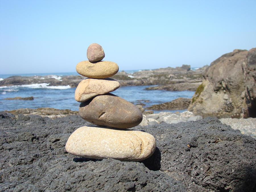 Coastal Beach Rock Stacking Art Prints Photograph