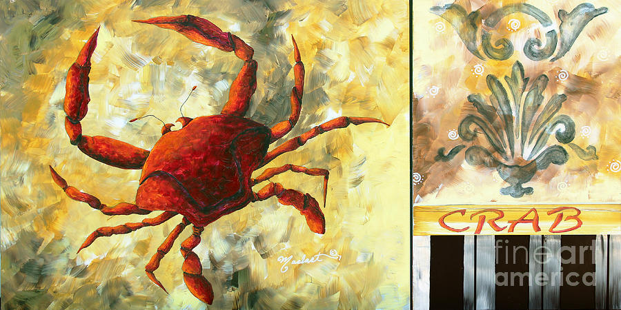 Coastal Crab Decorative Painting Original Art Coastal Luxe Crab By Madart Painting  - Coastal Crab Decorative Painting Original Art Coastal Luxe Crab By Madart Fine Art Print