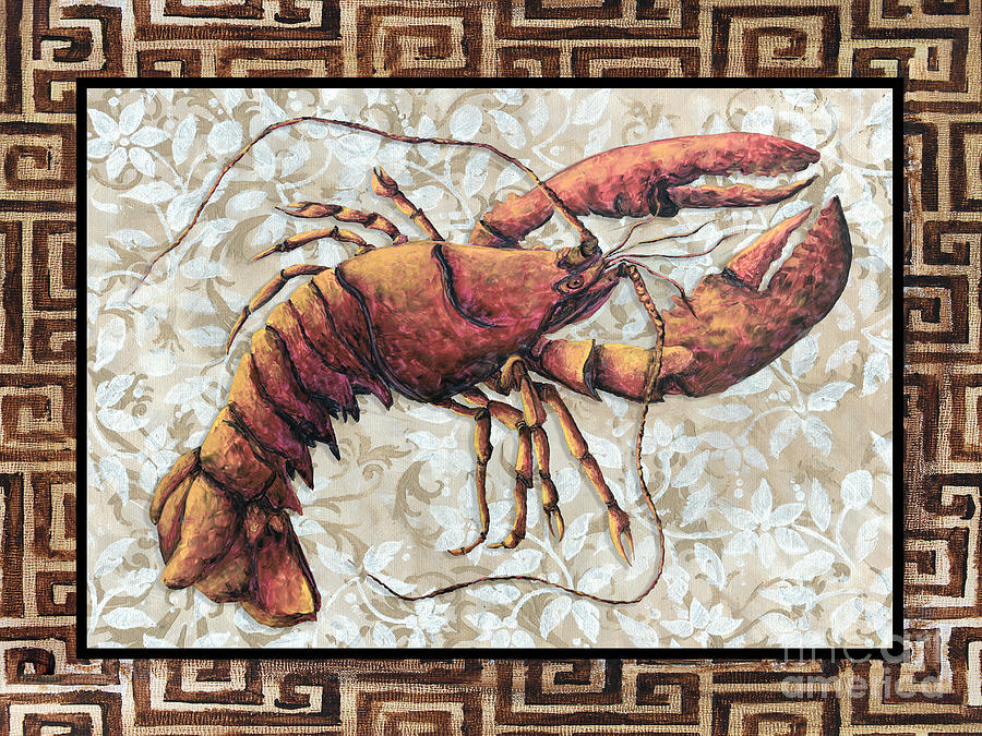 Coastal Lobster Decorative Painting Greek Border Design By Madart Studios Painting  - Coastal Lobster Decorative Painting Greek Border Design By Madart Studios Fine Art Print