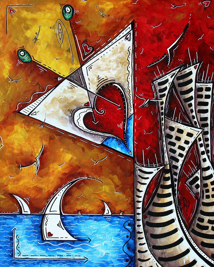 Coastal Martini Cityscape Contemporary Art Original Painting Heart Of A Martini By Madart Painting  - Coastal Martini Cityscape Contemporary Art Original Painting Heart Of A Martini By Madart Fine Art Print