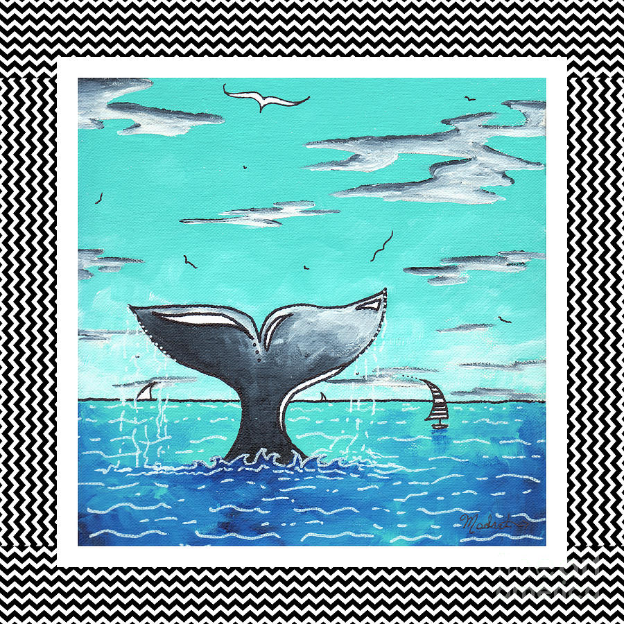 Coastal Nautical Decorative Art Original Painting Whale Tail Chevron Pattern Sea Farer By Madart Painting
