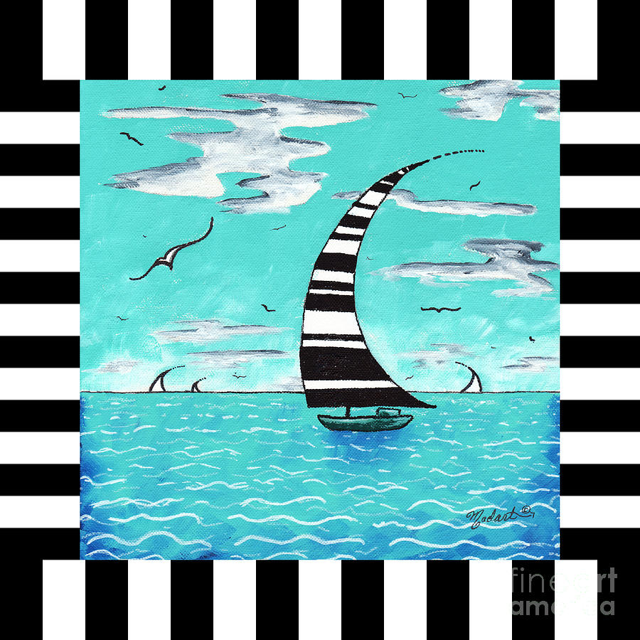 Coastal Nautical Decorative Art Original Painting With Stripes Refreshing By Madart Painting  - Coastal Nautical Decorative Art Original Painting With Stripes Refreshing By Madart Fine Art Print