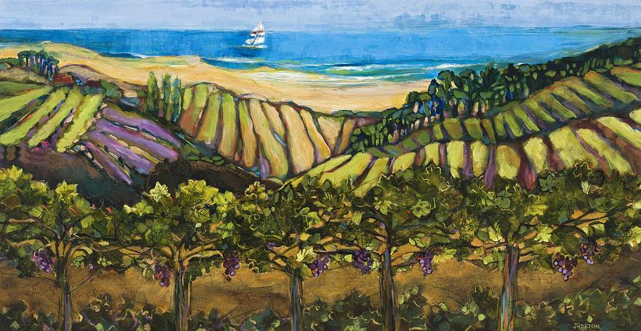 Jen Norton Painting - California Coastal Vineyards And Sail Boat by Jen Norton