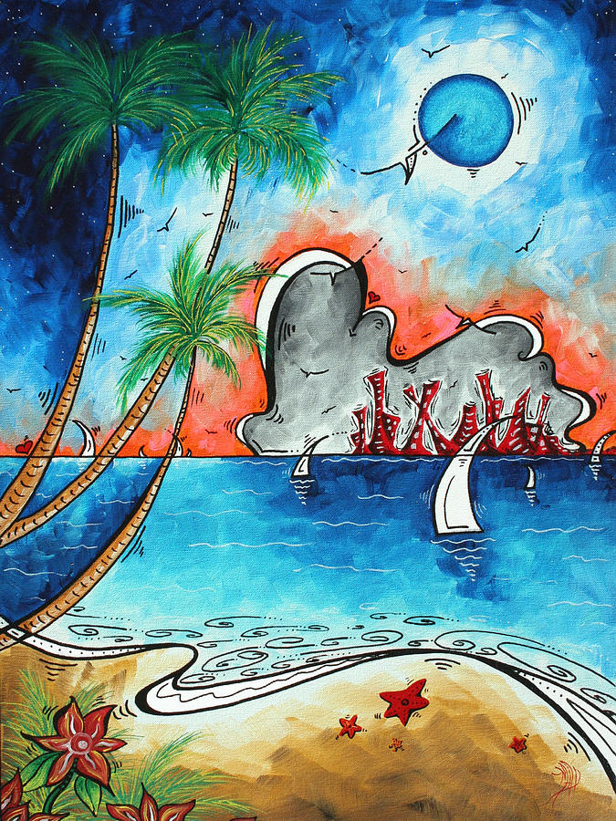 Coastal Tropical Beach Art Contemporary Painting Whimsical Design Tropical Vacation By Madart Painting