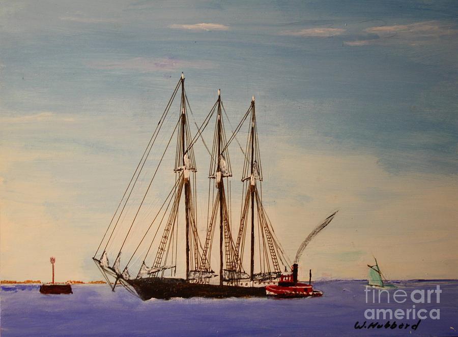 Sch Glendon Painting - Coasting Schooner Glendon by Bill Hubbard