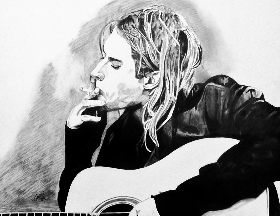 Kurt Cobain Nirvana Grunge Seattle Rock Music Icon Celebrity Drawing - Cobain by Jeremy Moore