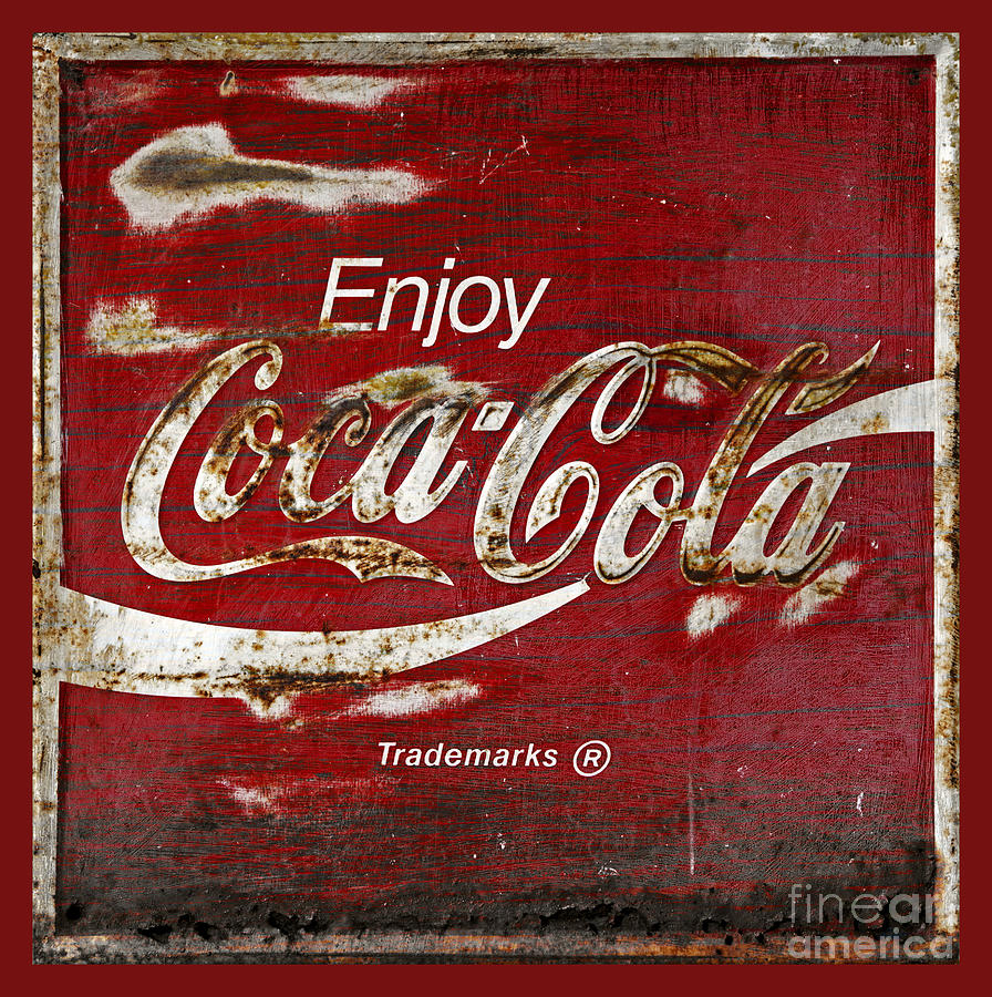 Coca Cola Red Grunge Sign Photograph
