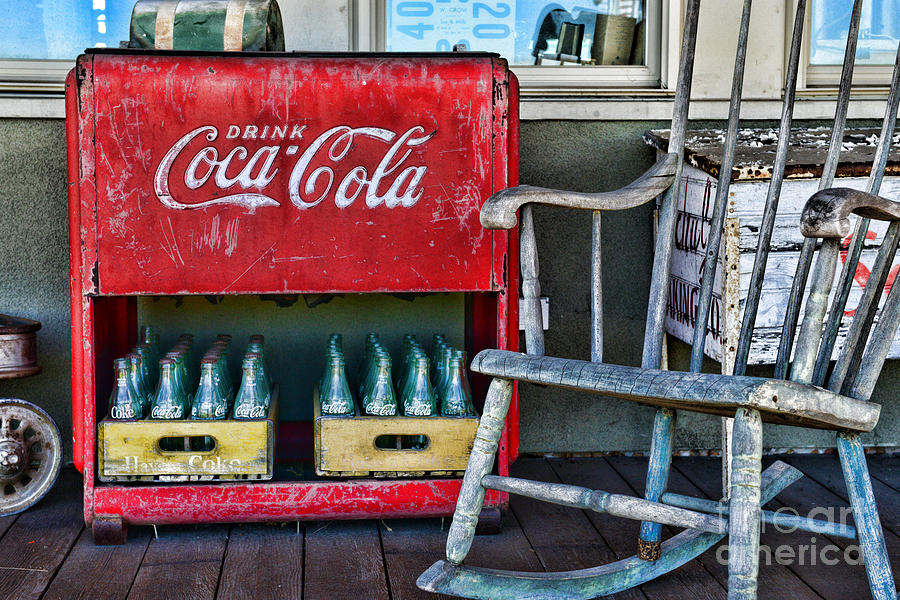 Coca Cola Vintage Cooler And Rocking Chair Photograph