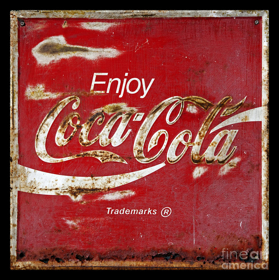 Coca cola vintage rusty sign photograph by john stephens for Photography prints for sale