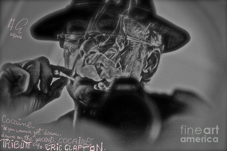 Cocaine Tribute To Eric Clapton - Self Portrait. Photograph  - Cocaine Tribute To Eric Clapton - Self Portrait. Fine Art Print