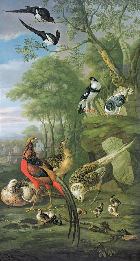 Cock Pheasant Hen Pheasant And Chicks And Other Birds In A Classical Landscape Painting