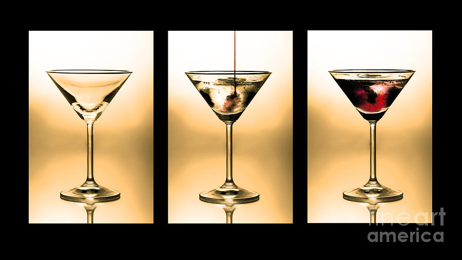 Cocktail Triptych In Gold Photograph