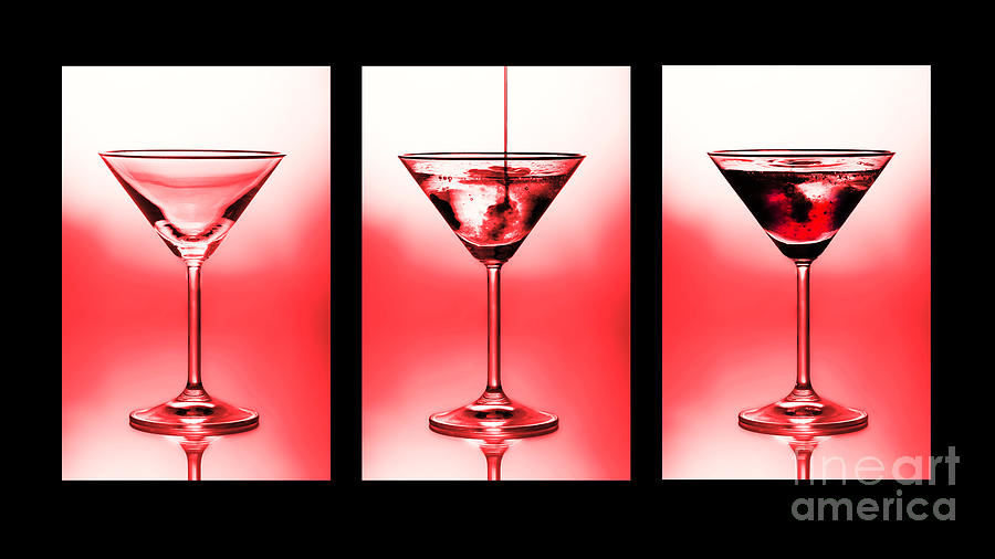Cocktail Triptych In Red Photograph  - Cocktail Triptych In Red Fine Art Print