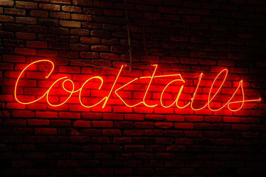 Neon Photograph - Cocktails Sign by Karin Hildebrand Lau