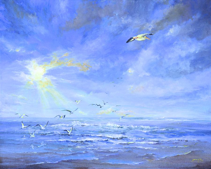 Cocoa Beach Birds Painting  - Cocoa Beach Birds Fine Art Print