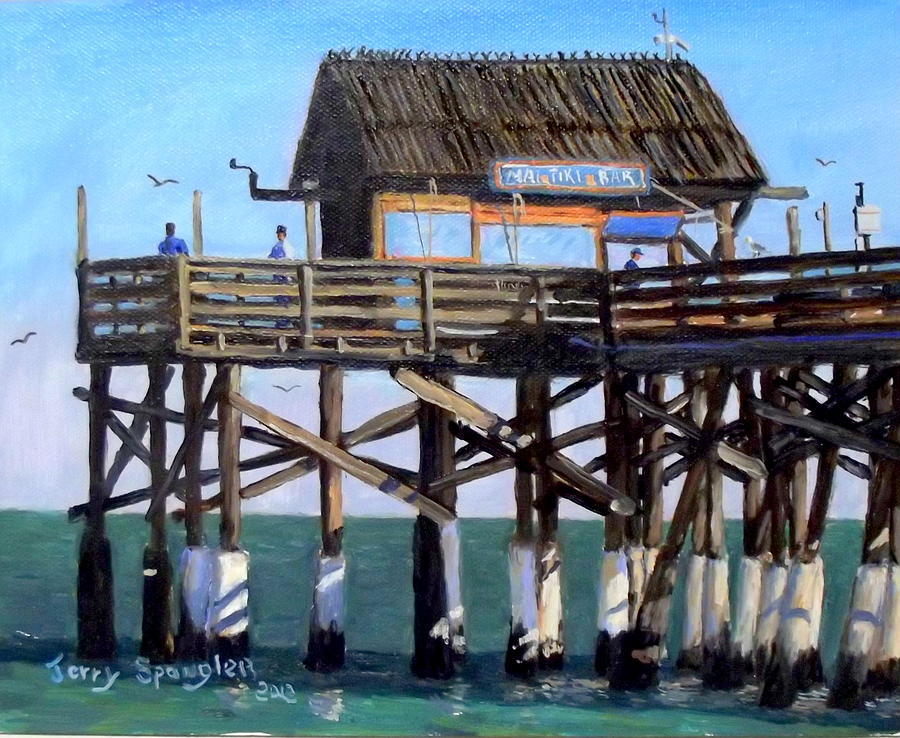 Cocoa beach fishing pier painting by jerry spangler for Cocoa beach pier fishing