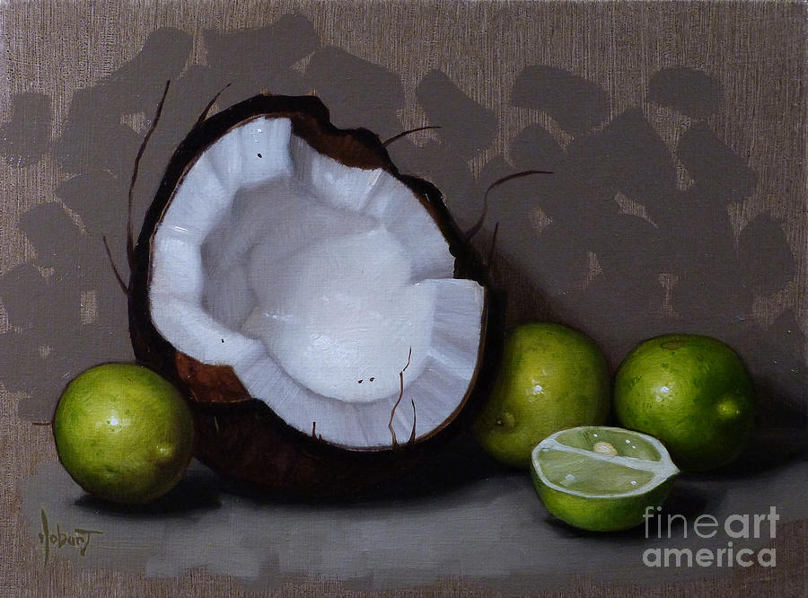 Coconut And Key Limes V Painting  - Coconut And Key Limes V Fine Art Print