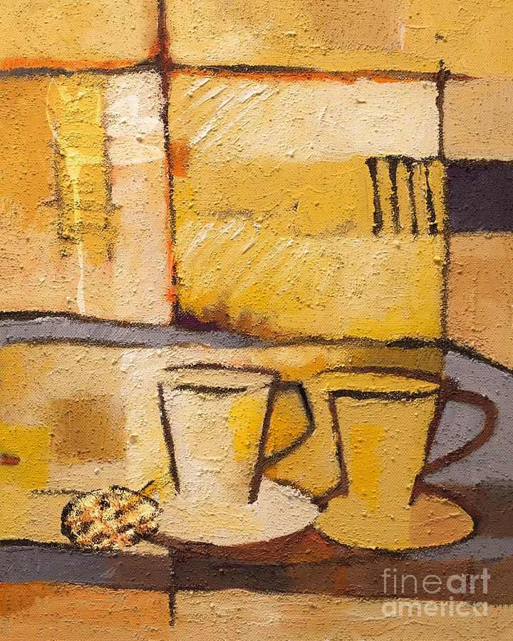 Coffee Painting - Coffee And Bisquit by Lutz Baar