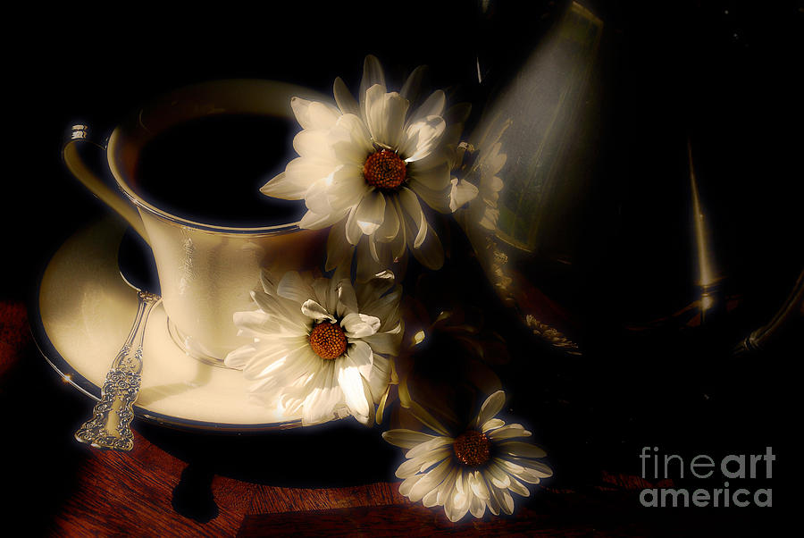 Coffee And Daisies  Photograph  - Coffee And Daisies  Fine Art Print