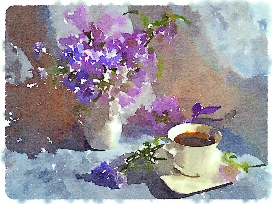 Flower Digital Art - Coffee And Flowers by Yury Malkov