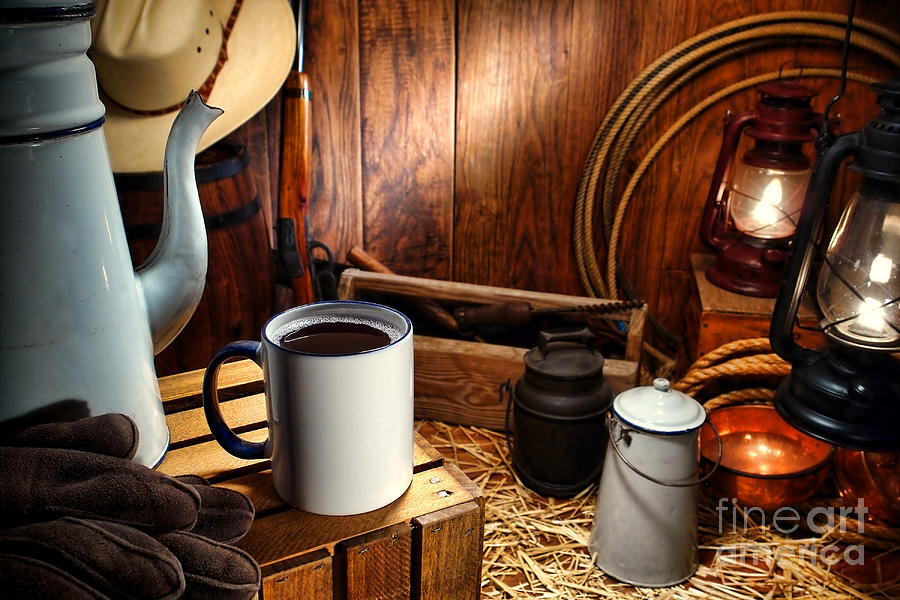 Western Photograph - Coffee Break At The Chuck Wagon by Olivier Le Queinec