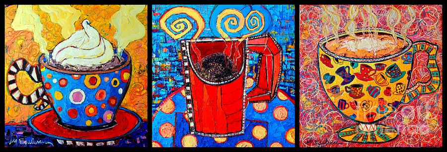 Coffee Painting - Coffee Cups Triptych  by Ana Maria Edulescu
