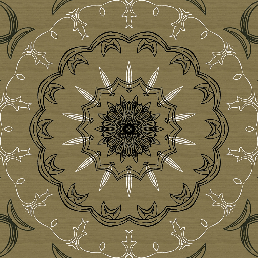 Coffee Flowers 3 Olive Ornate Medallion Digital Art