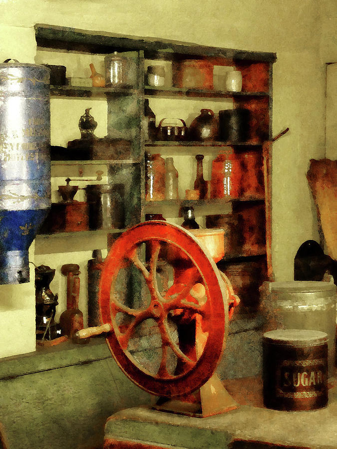 Coffee Grinder And Canister Of Sugar Photograph