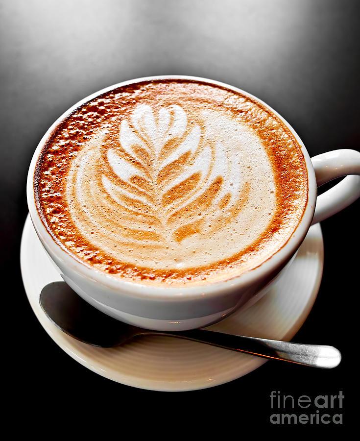 Coffee Latte With Foam Art Photograph