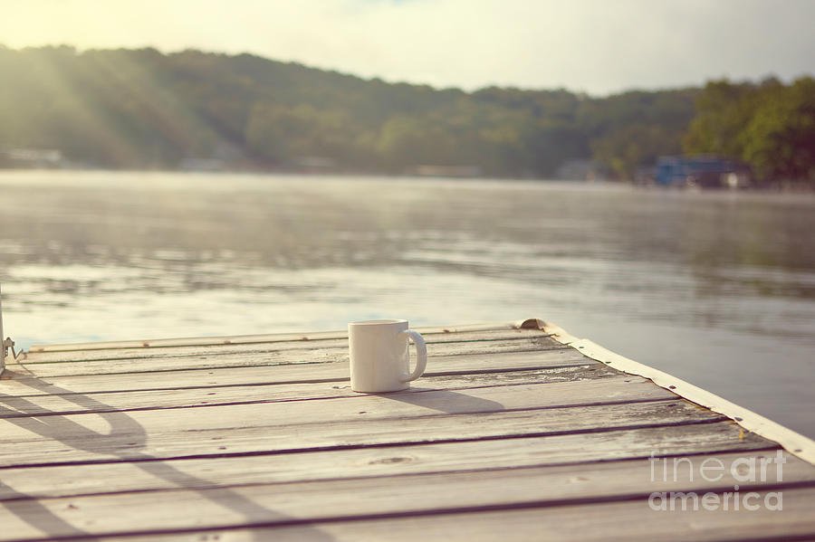 Lakehouse Photograph - Coffee On The Dock by Kay Pickens