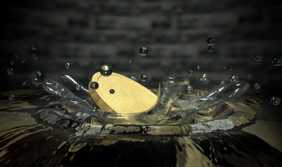 Wishing Well Digital Art - Coin Hitting Water Splash by Allan Swart