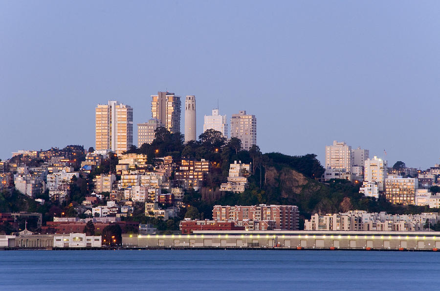 Coit Tower Sits Prominently On Top Of Telegraph Hill In San Fran Photograph  - Coit Tower Sits Prominently On Top Of Telegraph Hill In San Fran Fine Art Print