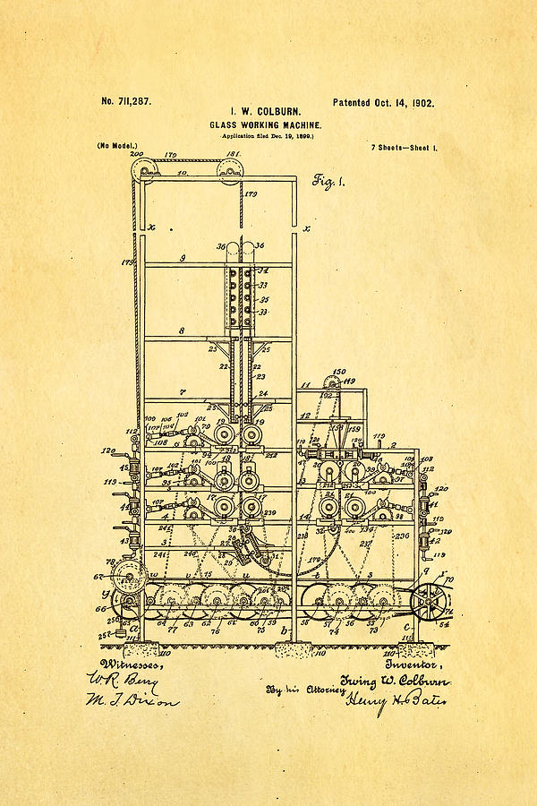 Colburn Flat Glass Working Machine Patent Art 1902 Photograph