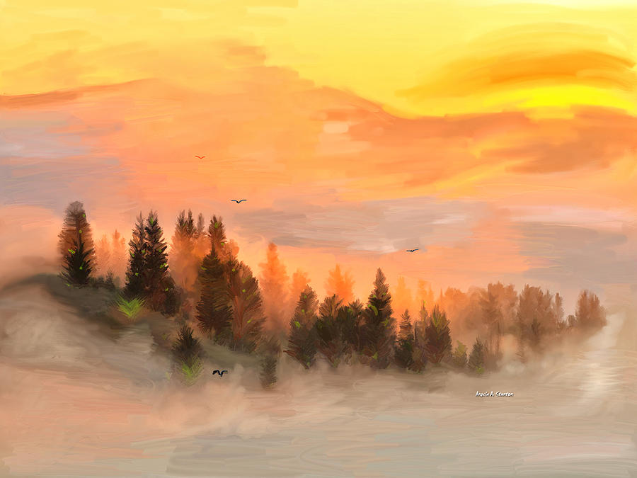 Fog Painting - Cold Foggy Spring Morning by Angela A Stanton